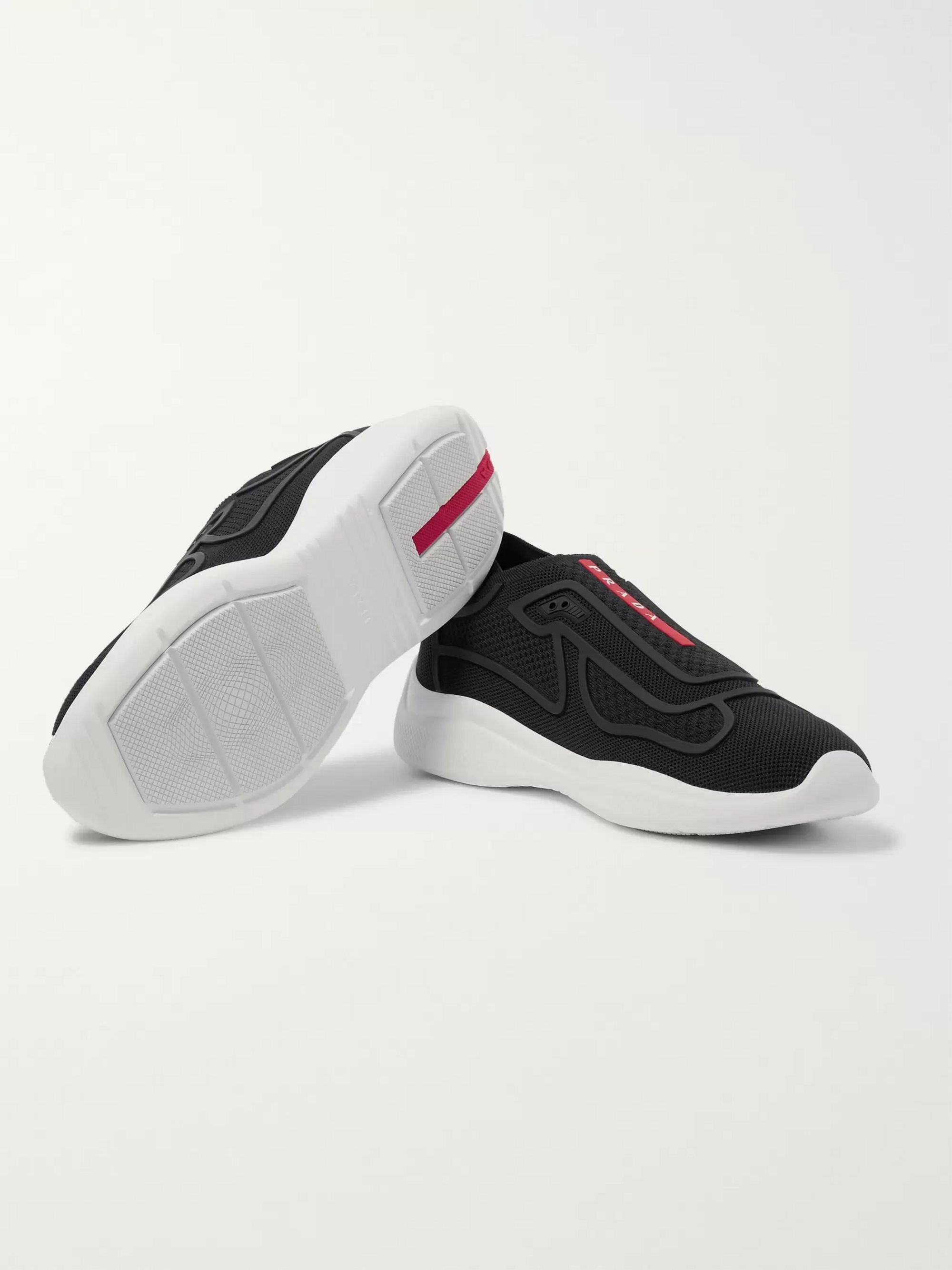Prada America's Cup Rubber-Trimmed Mesh Slip-On Sneakers