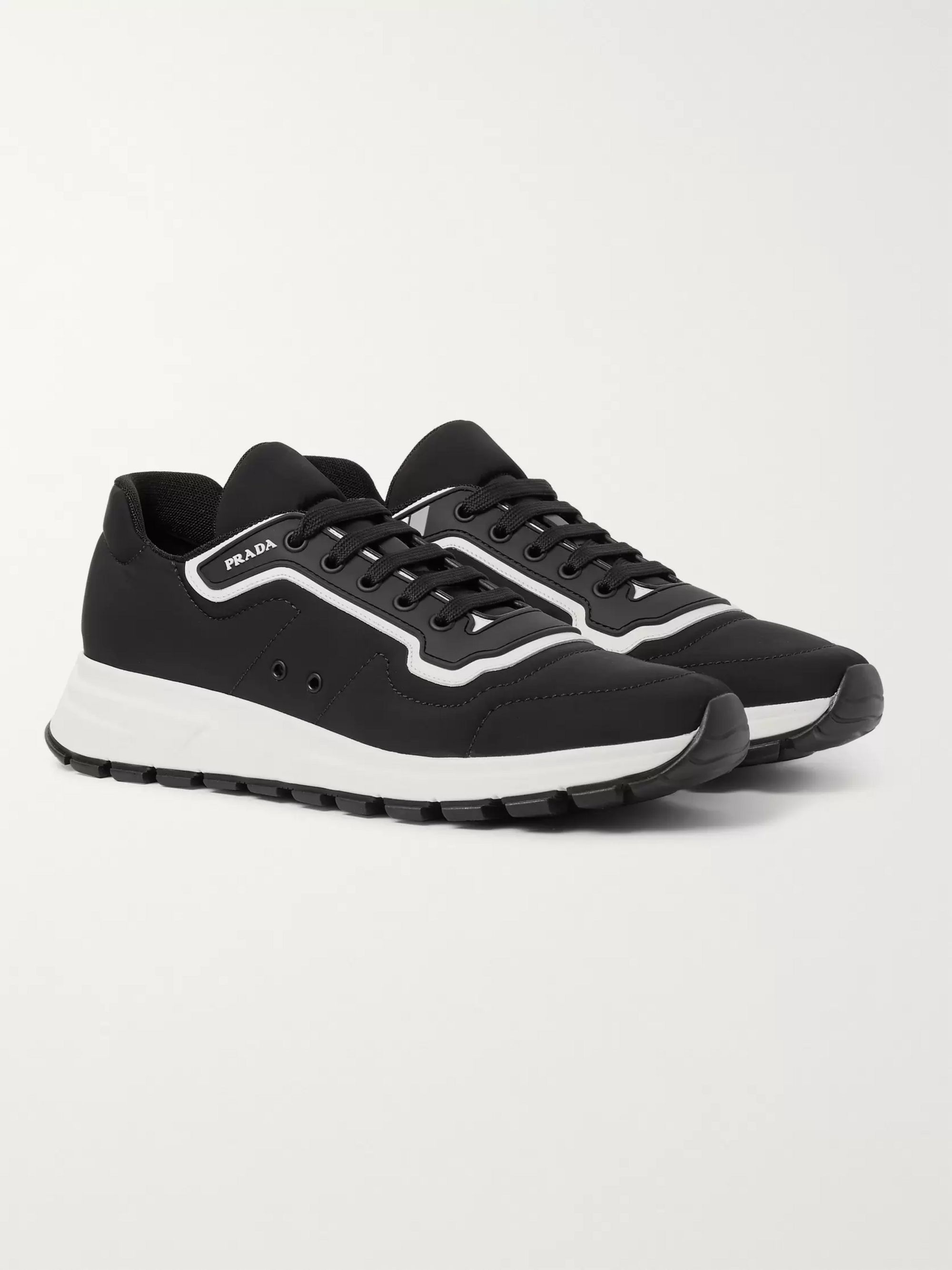 Match Race Rubber and Leather Trimmed Nylon Sneakers