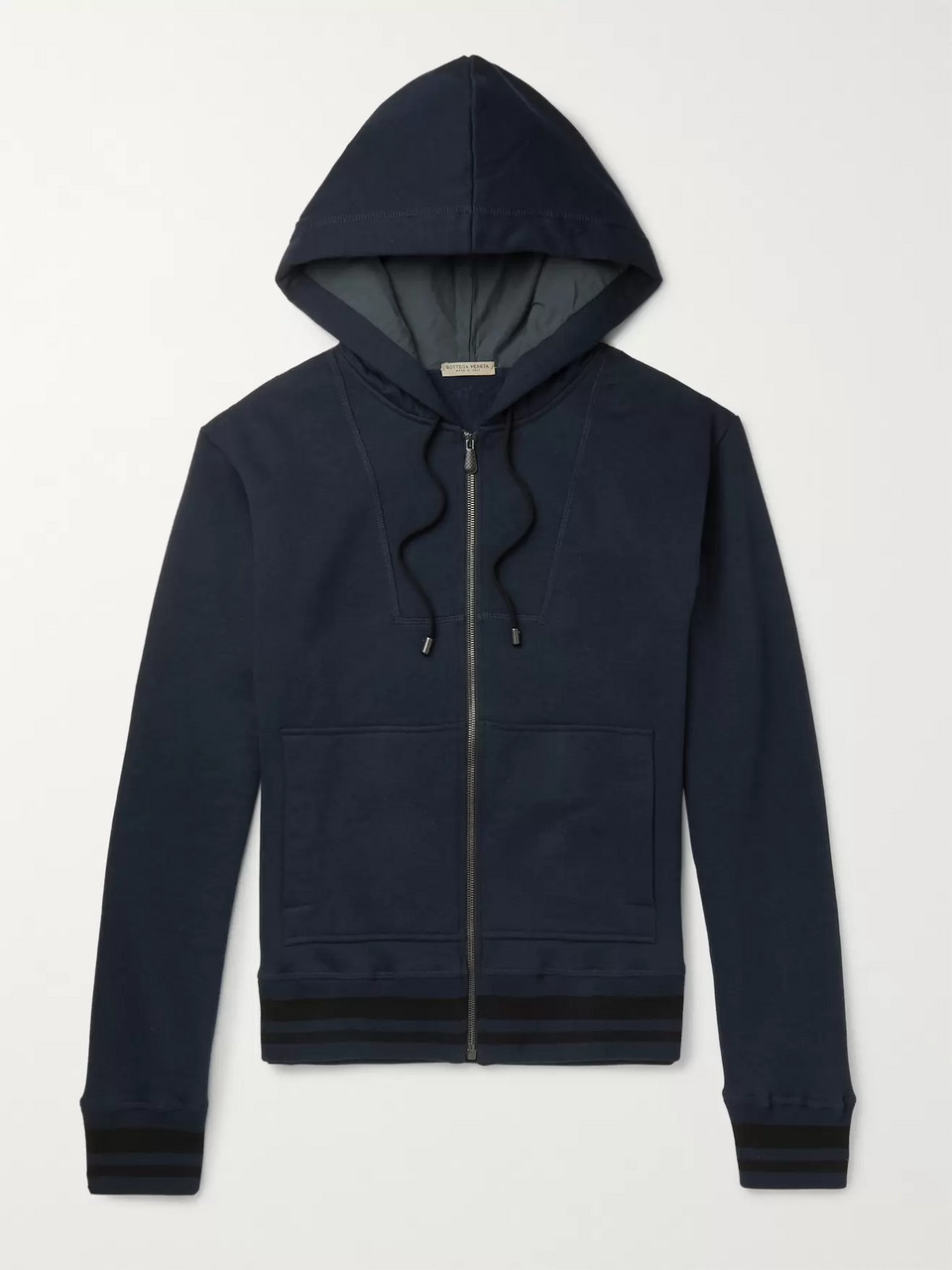 Bottega Veneta Fleece-Back Cotton-Blend Jersey Zip-Up Hoodie