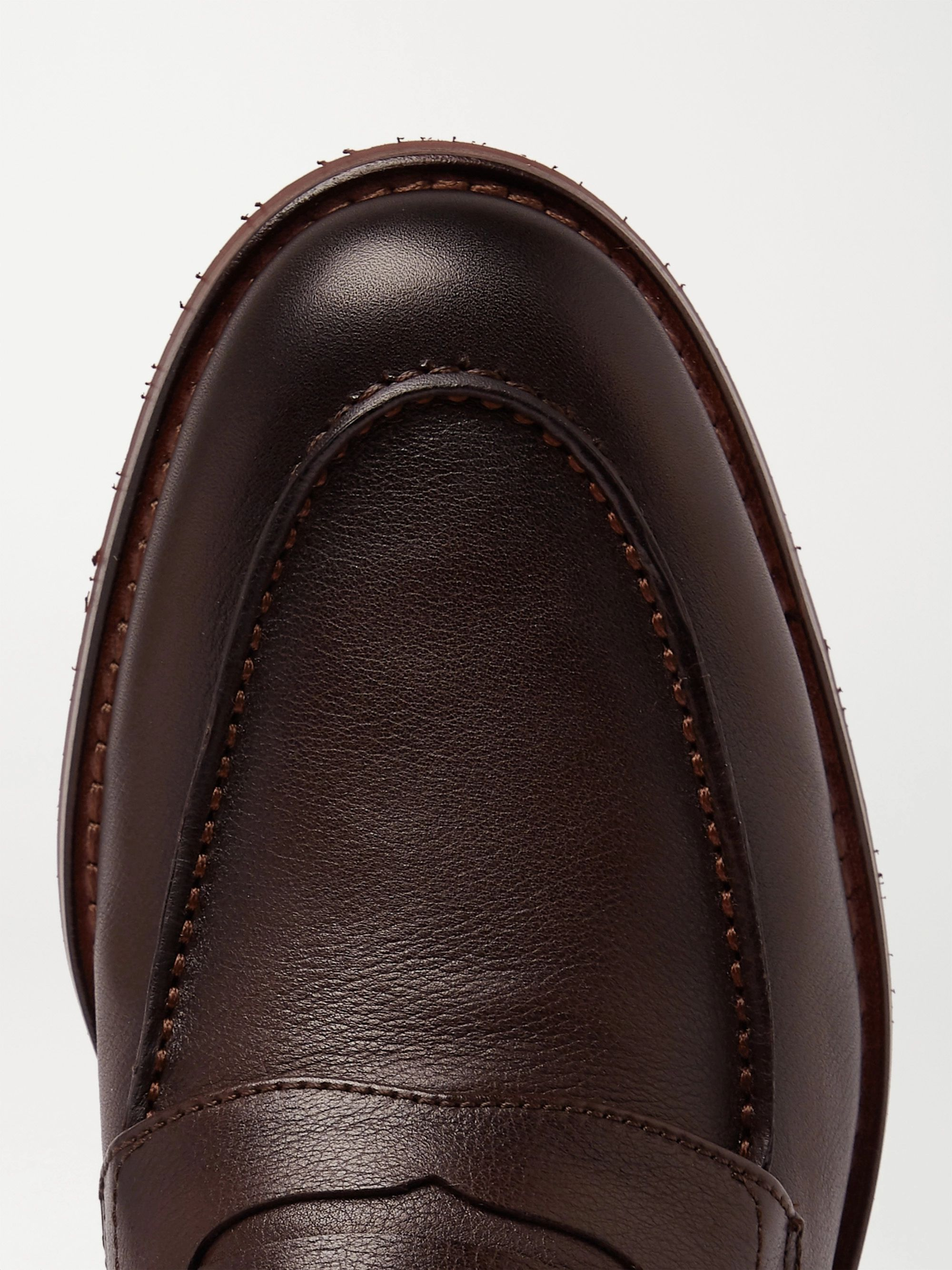 Brown City Life Full-grain Leather Loafers | Loro Piana