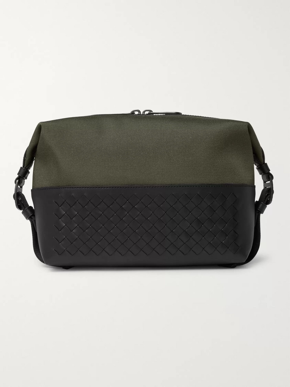 Bottega Veneta Canvas and Intrecciato Leather Wash Bag