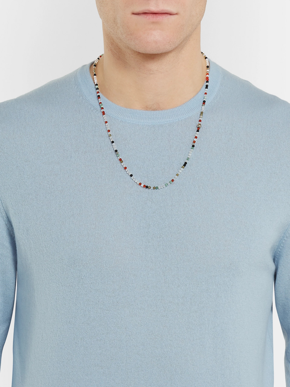 Bottega Veneta Silver Agate Necklace