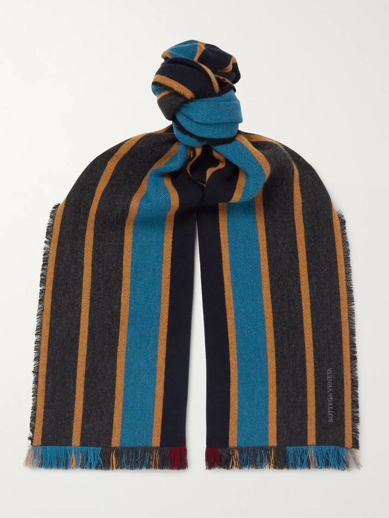 Bottega Veneta Fringed Striped Cashmere and Wool-Blend Scarf