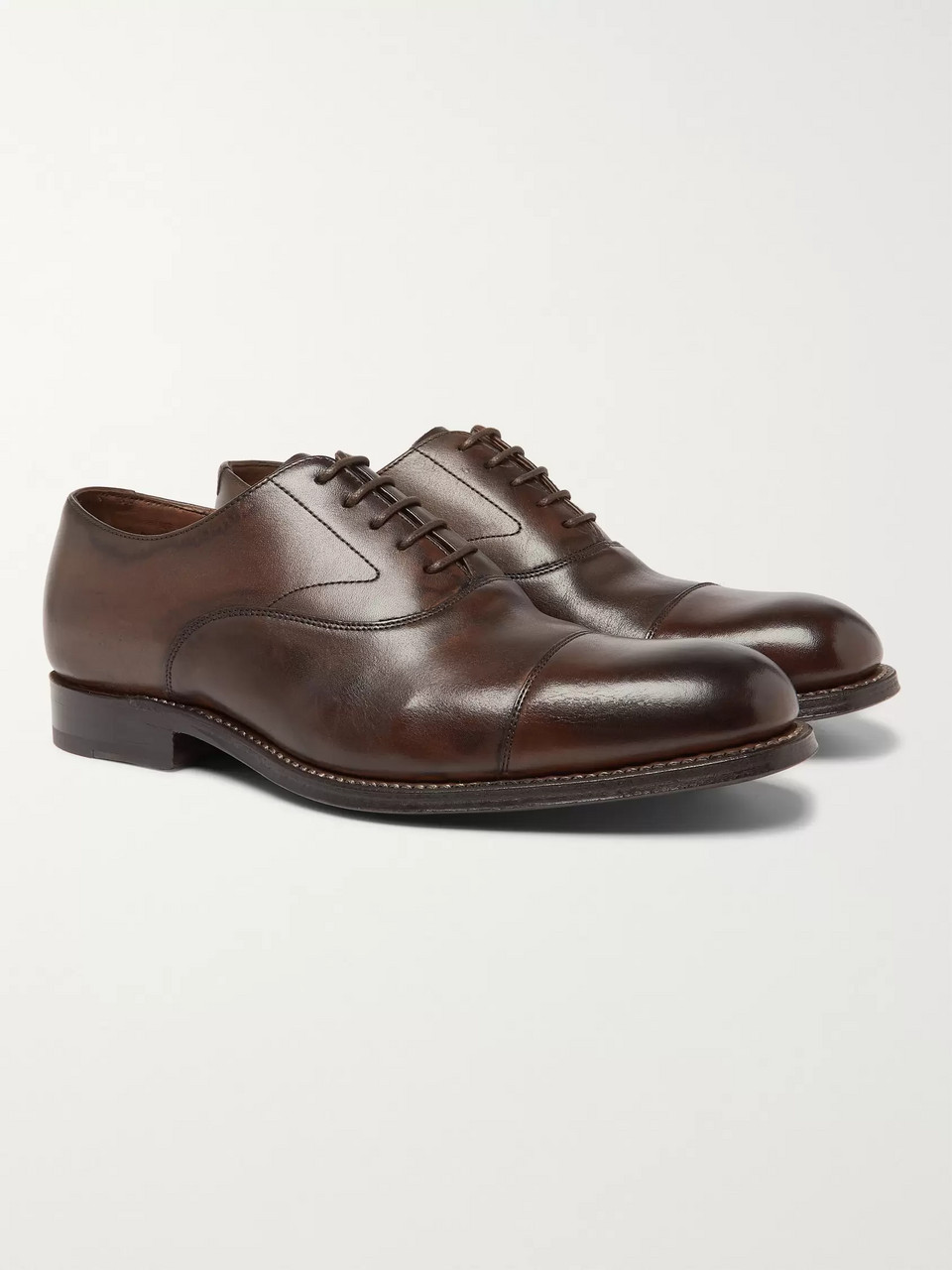 Brown Lucas Cap Toe Leather Oxford Shoes Grenson Mr Porter