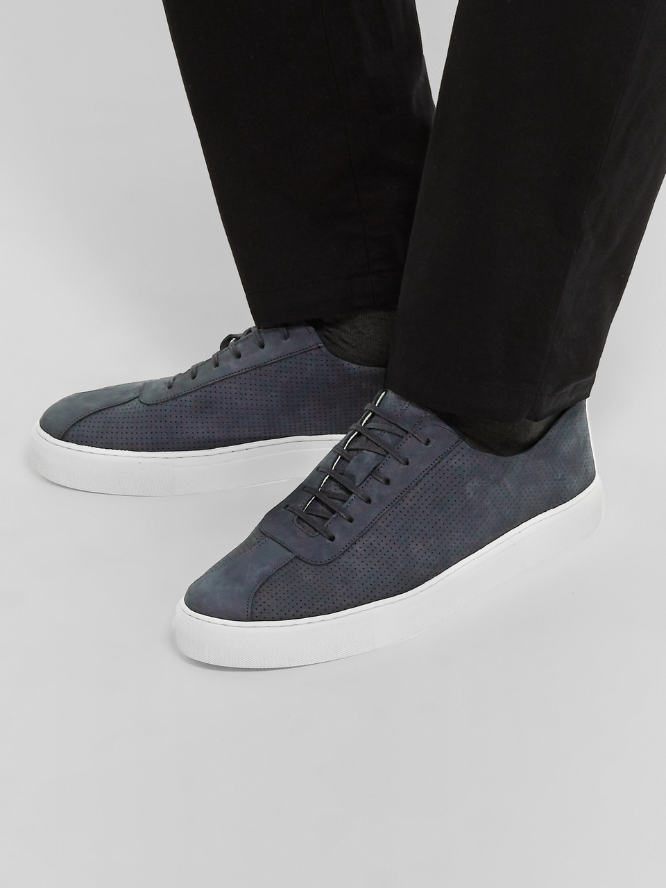 2727d37c262 Navy Perforated Nubuck Sneakers | Grenson | MR PORTER
