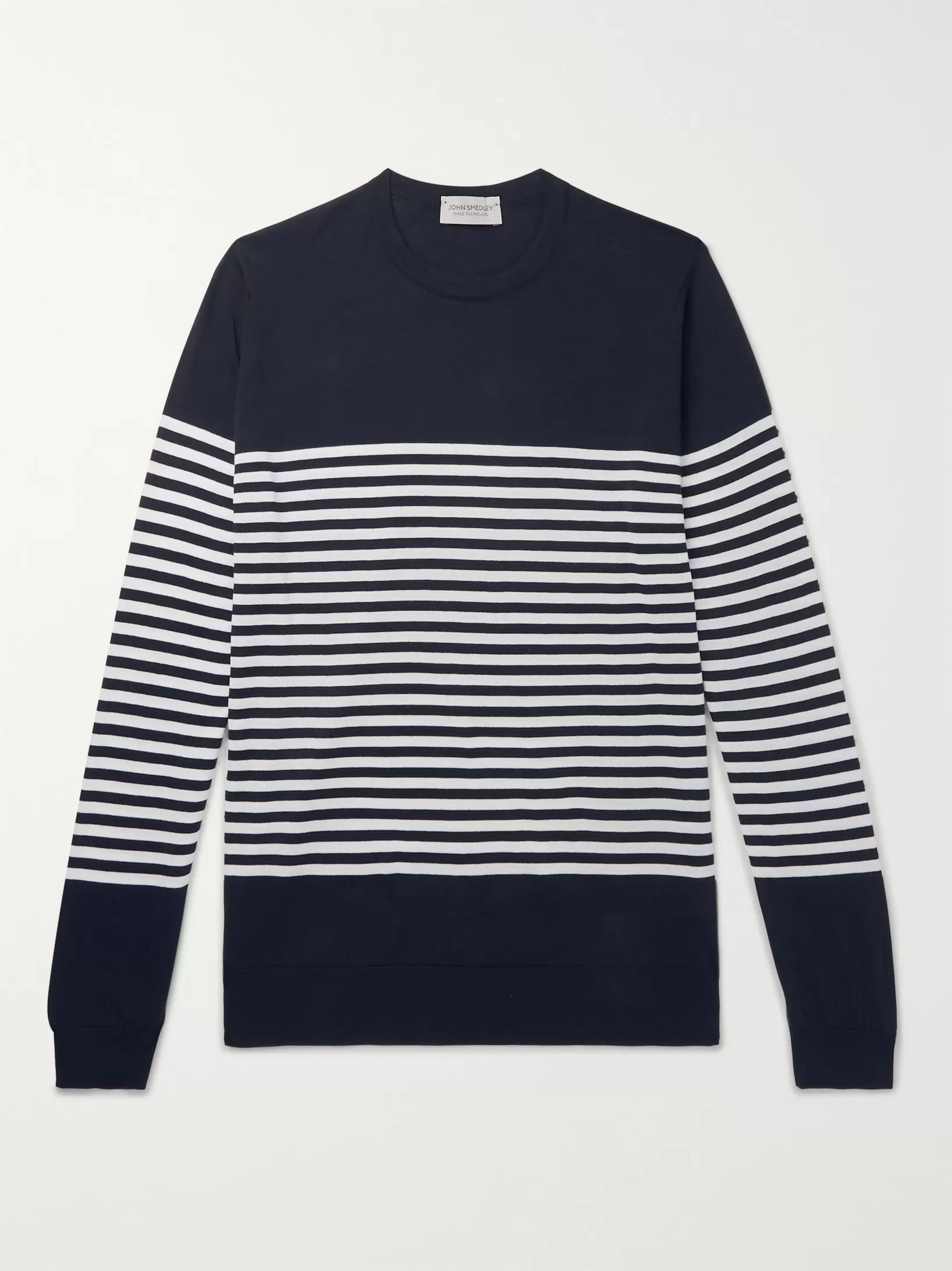 John Smedley Palter Striped Sea Island Cotton Sweater