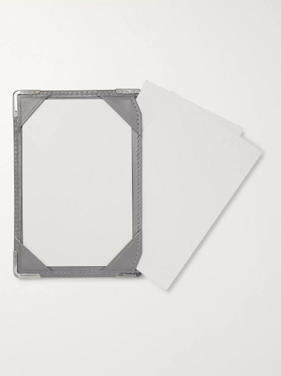 William & Son Silver Tone-Trimmed Leather Mini Jotter Pad