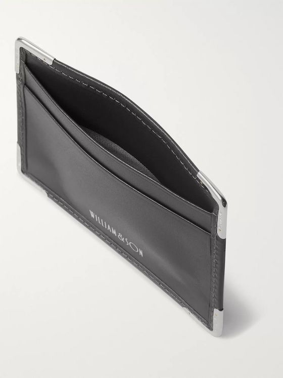 William & Son Silver Tone-Trimmed Leather Cardholder