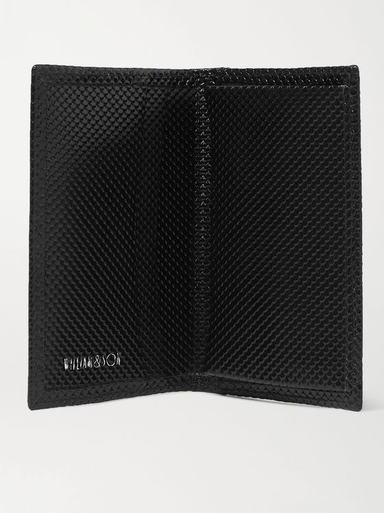 William & Son Snake-Effect Leather Cardholder