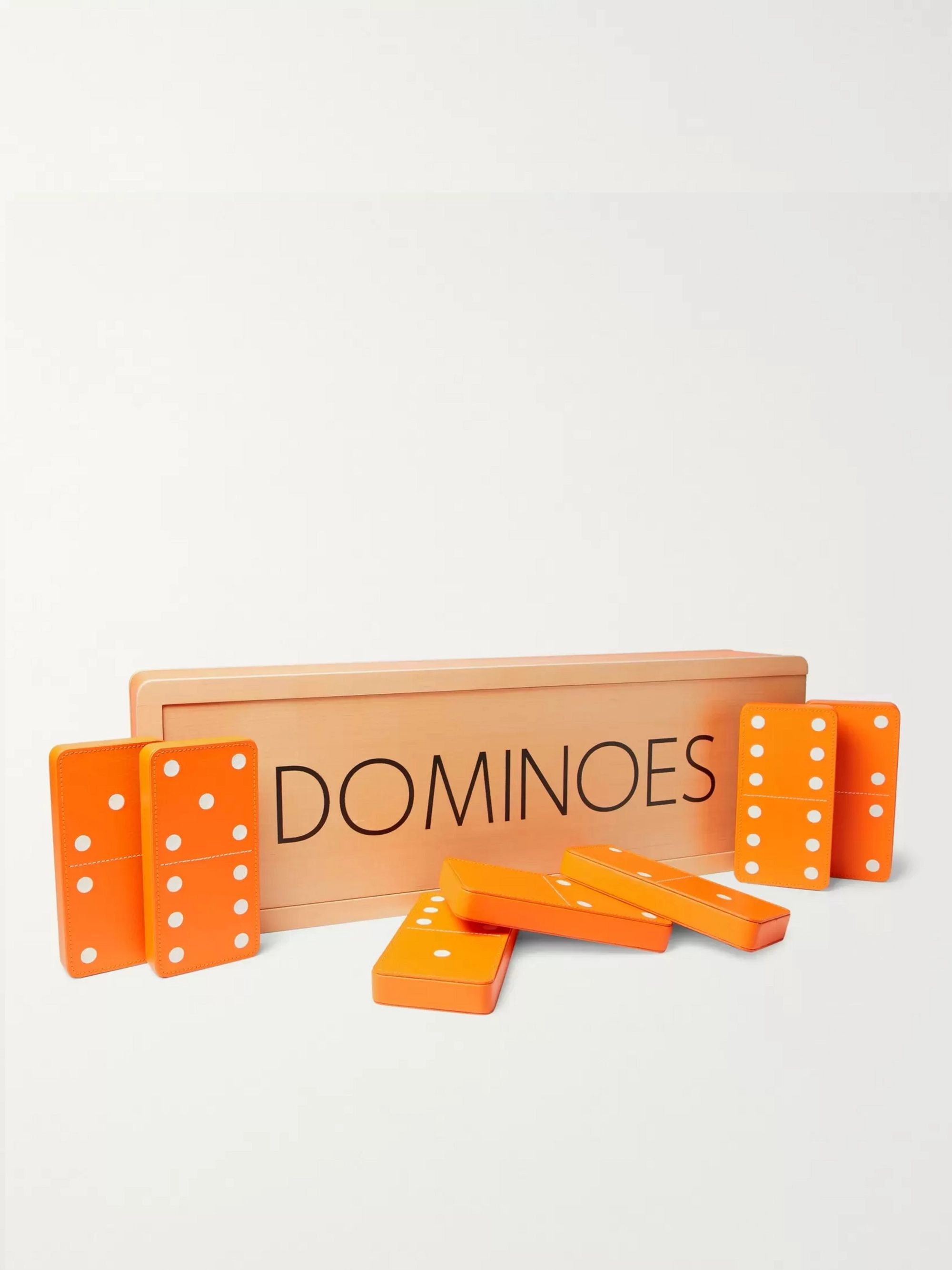 William & Son Leather and Maple Wood Carpet Dominoes Set