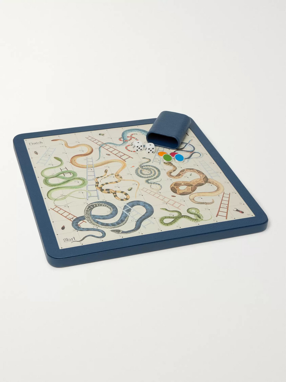 William & Son Leather Snakes and Ladders Set