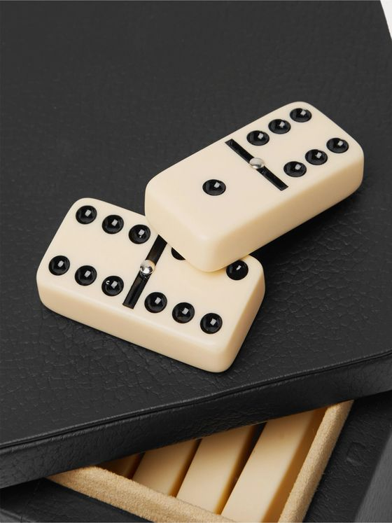 William & Son Leather Dominoes Set