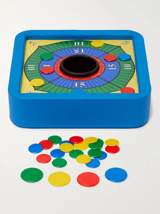 William & Son Leather and Felt Tiddlywinks Set