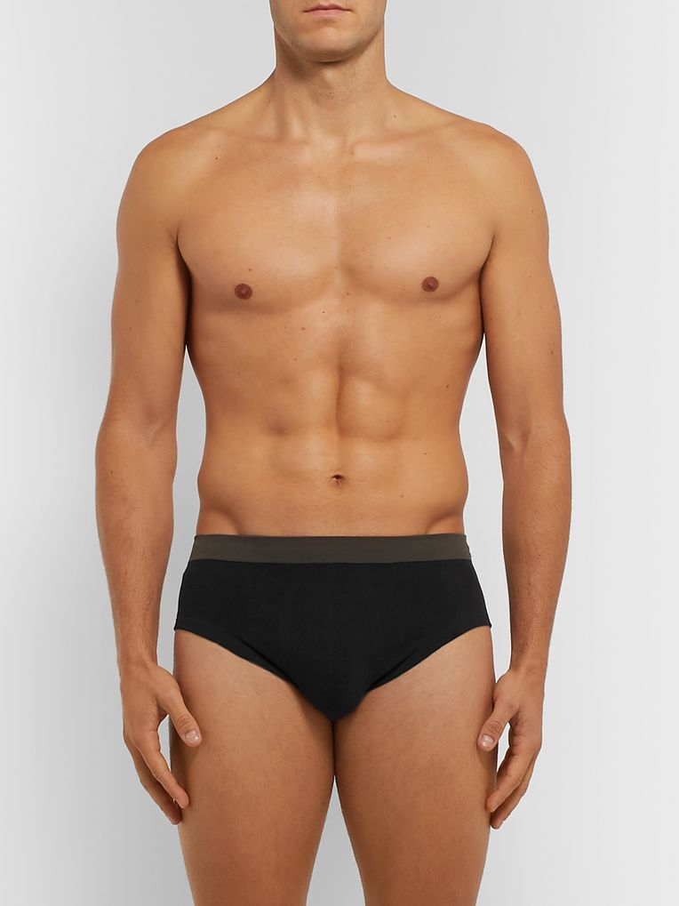 Hamilton and Hare Five-Pack Seamless Cotton-Blend Briefs