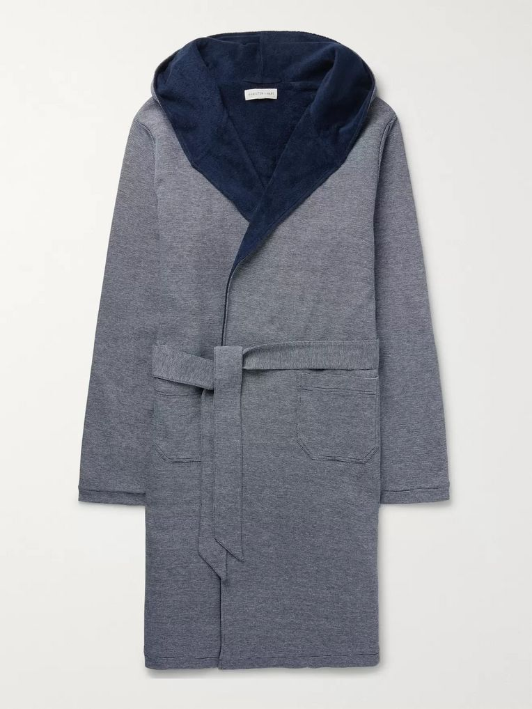 Hamilton and Hare Striped Loopback Cotton-Piqué Hooded Robe