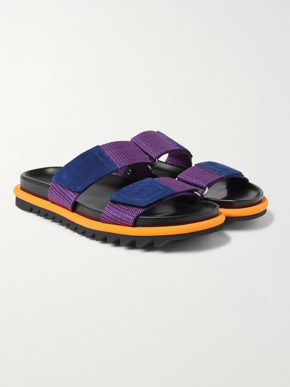 Dries Van Noten Suede-Trimmed Webbing Sandals