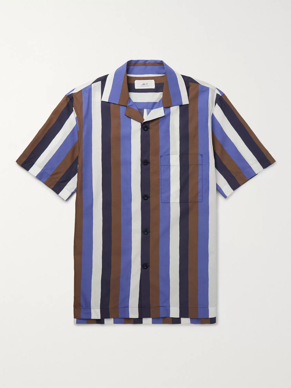 Mr P. Camp-Collar Striped Cotton-Blend Poplin Shirt