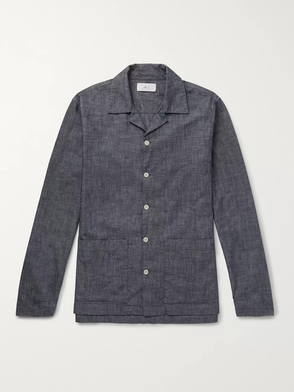 Mr P. Camp-Collar Washed Cotton-Chambray Shirt