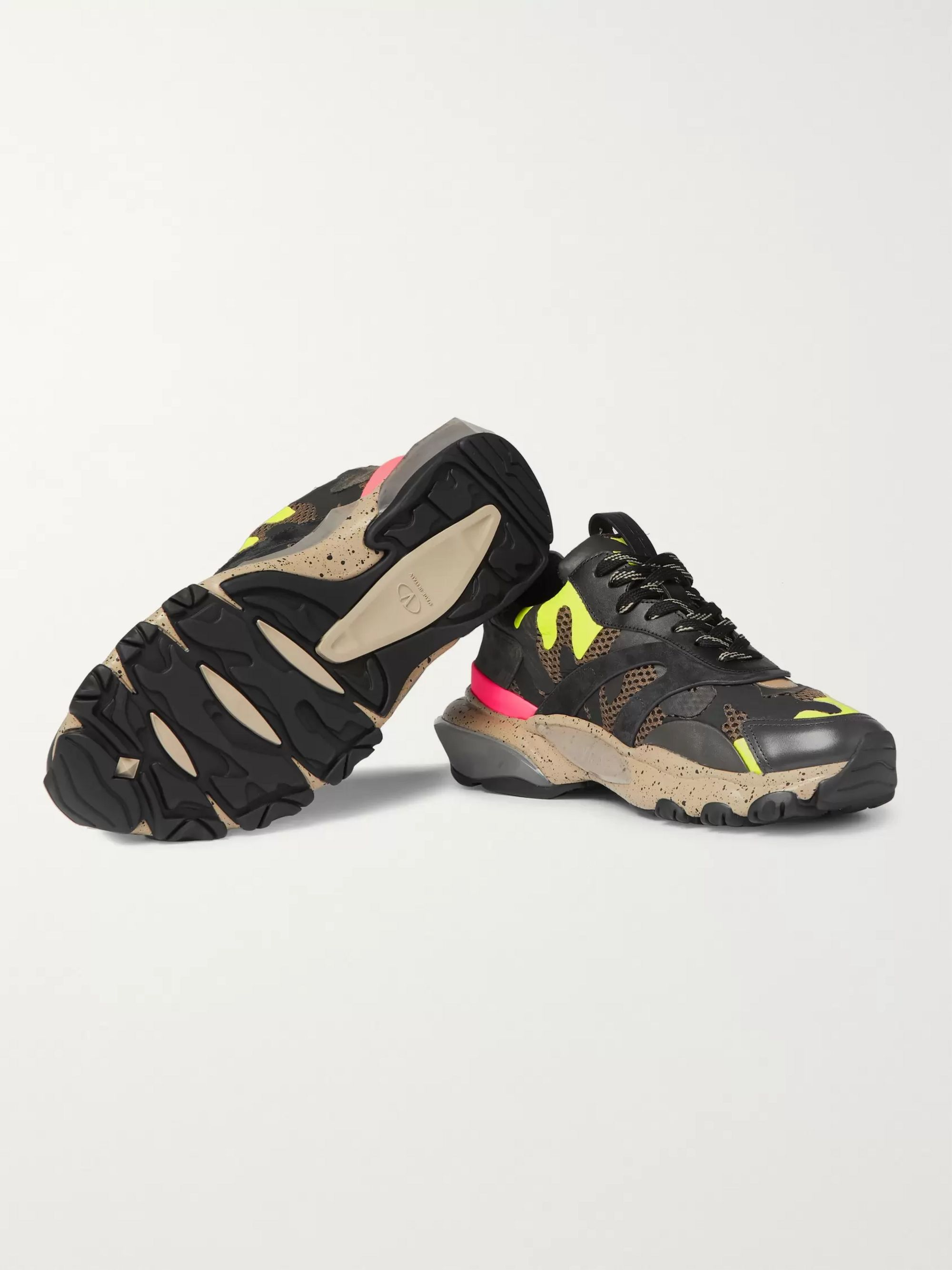 Valentino Valentino Garavani Bounce Camouflage-Print Leather, Mesh and Suede Sneakers