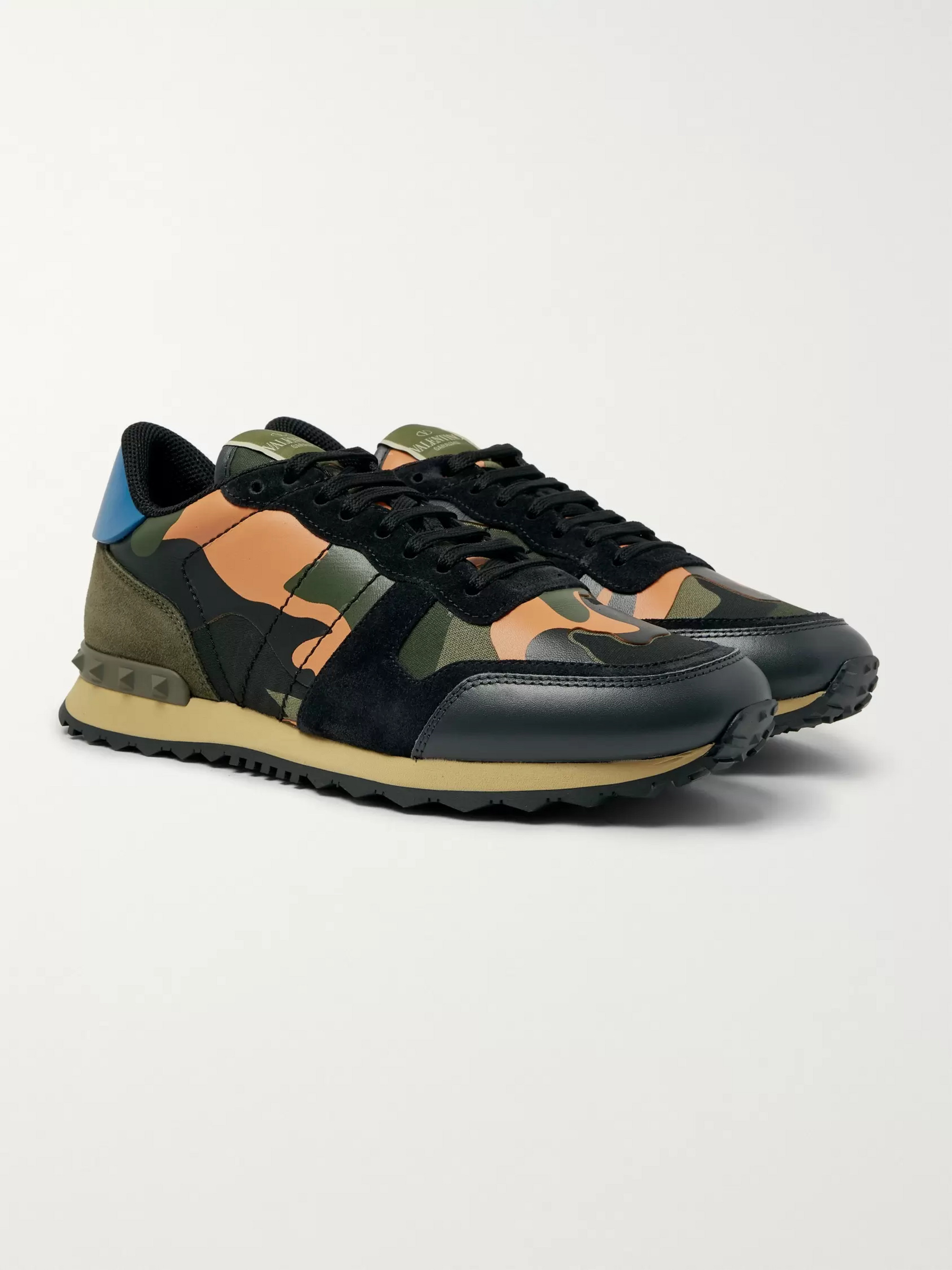 d07a32689 Valentino Valentino Garavani Rockrunner Camouflage-Print Canvas, Leather  and Suede Sneakers