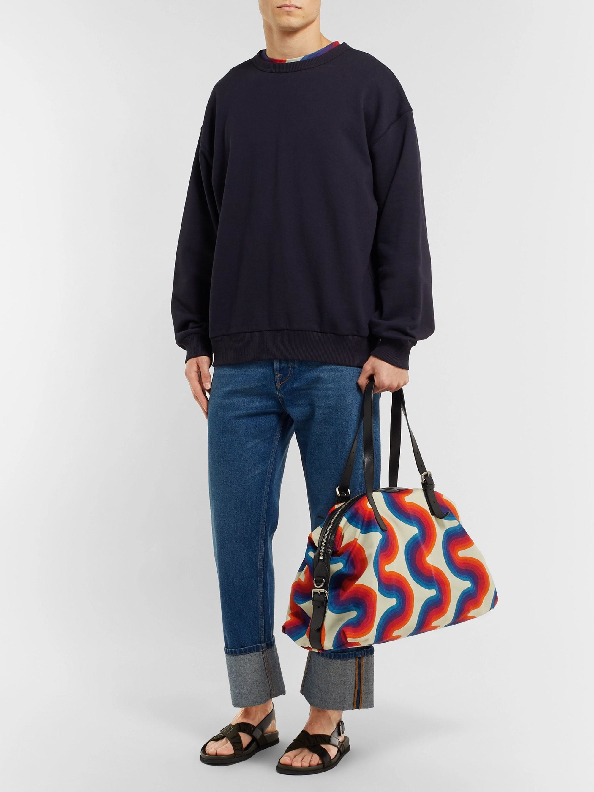 Dries Van Noten Leather-Trimmed Printed Canvas Holdall