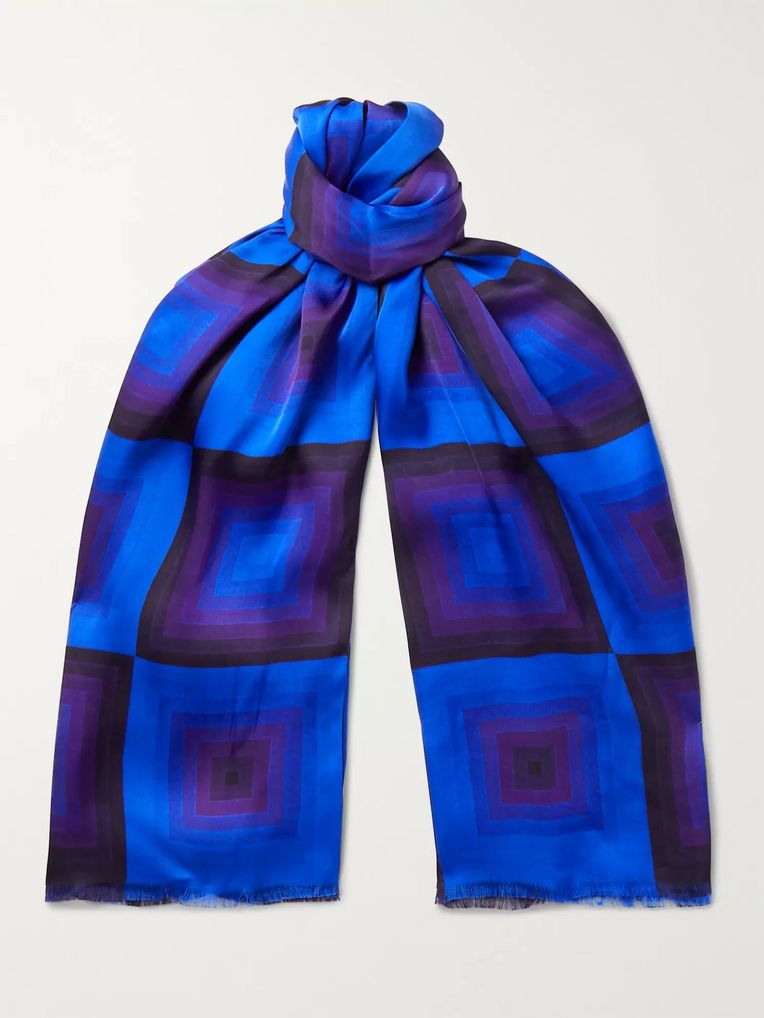 Dries Van Noten Fringed Printed Matte-Satin Scarf