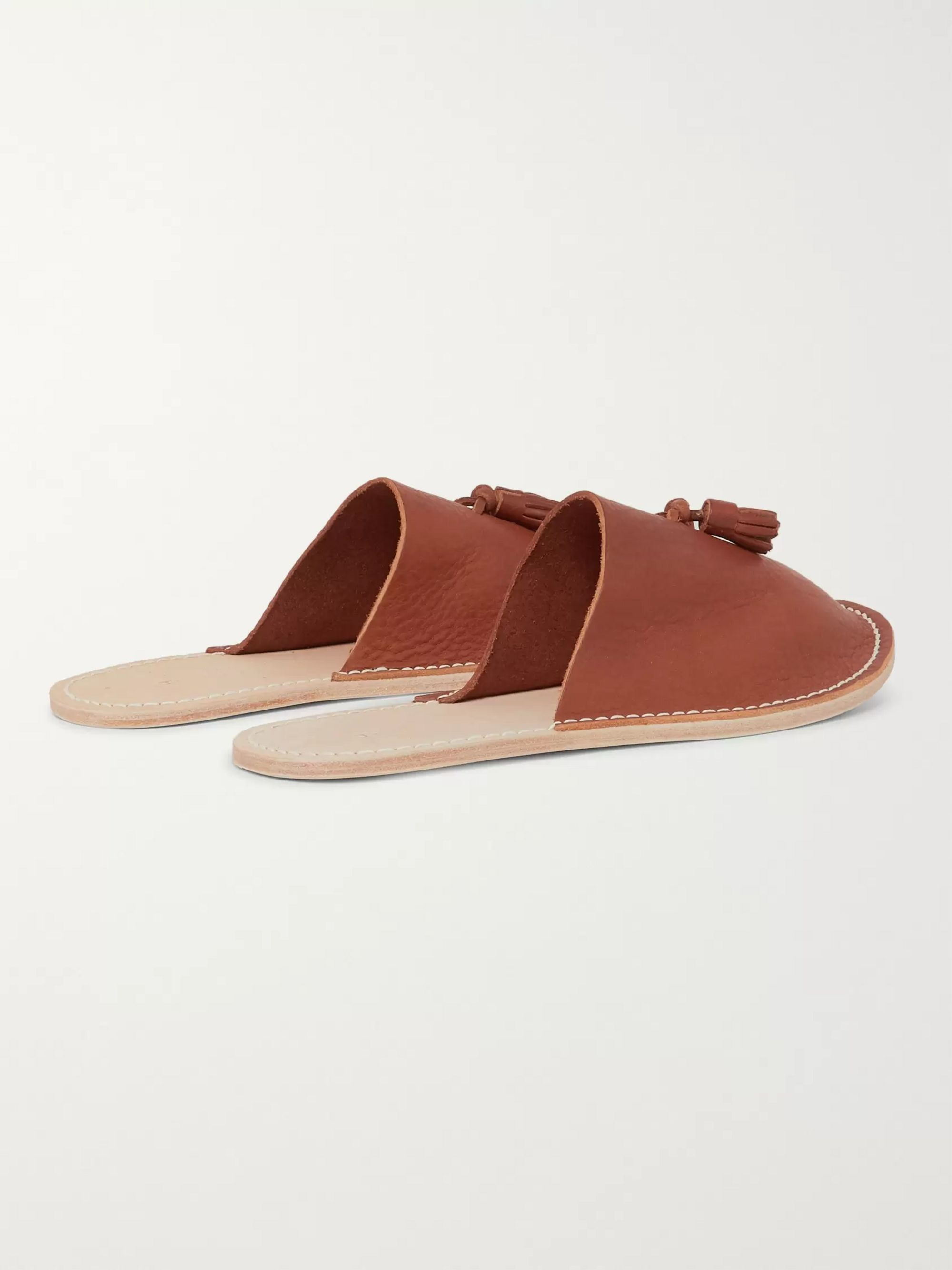 Hender Scheme Tasselled Textured-Leather Backless Slippers
