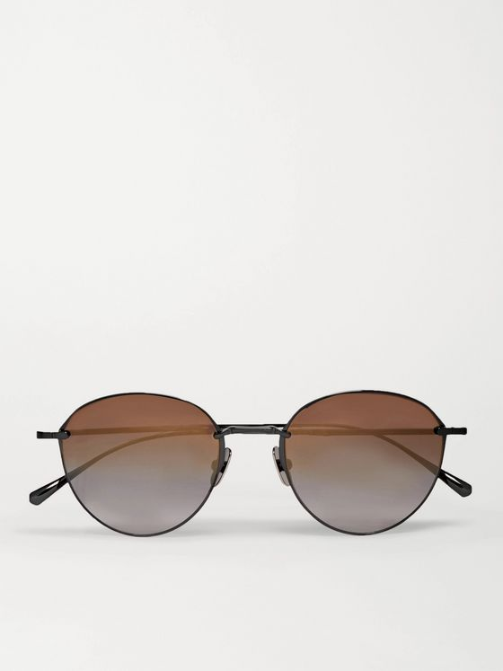 MR LEIGHT Mulholland Round-Frame Gunmetal-Tone Sunglasses