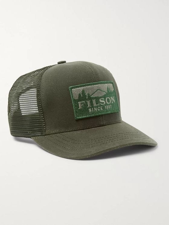 Filson Logger Logo-Appliquéd Cotton-Twill and Mesh Baseball Cap