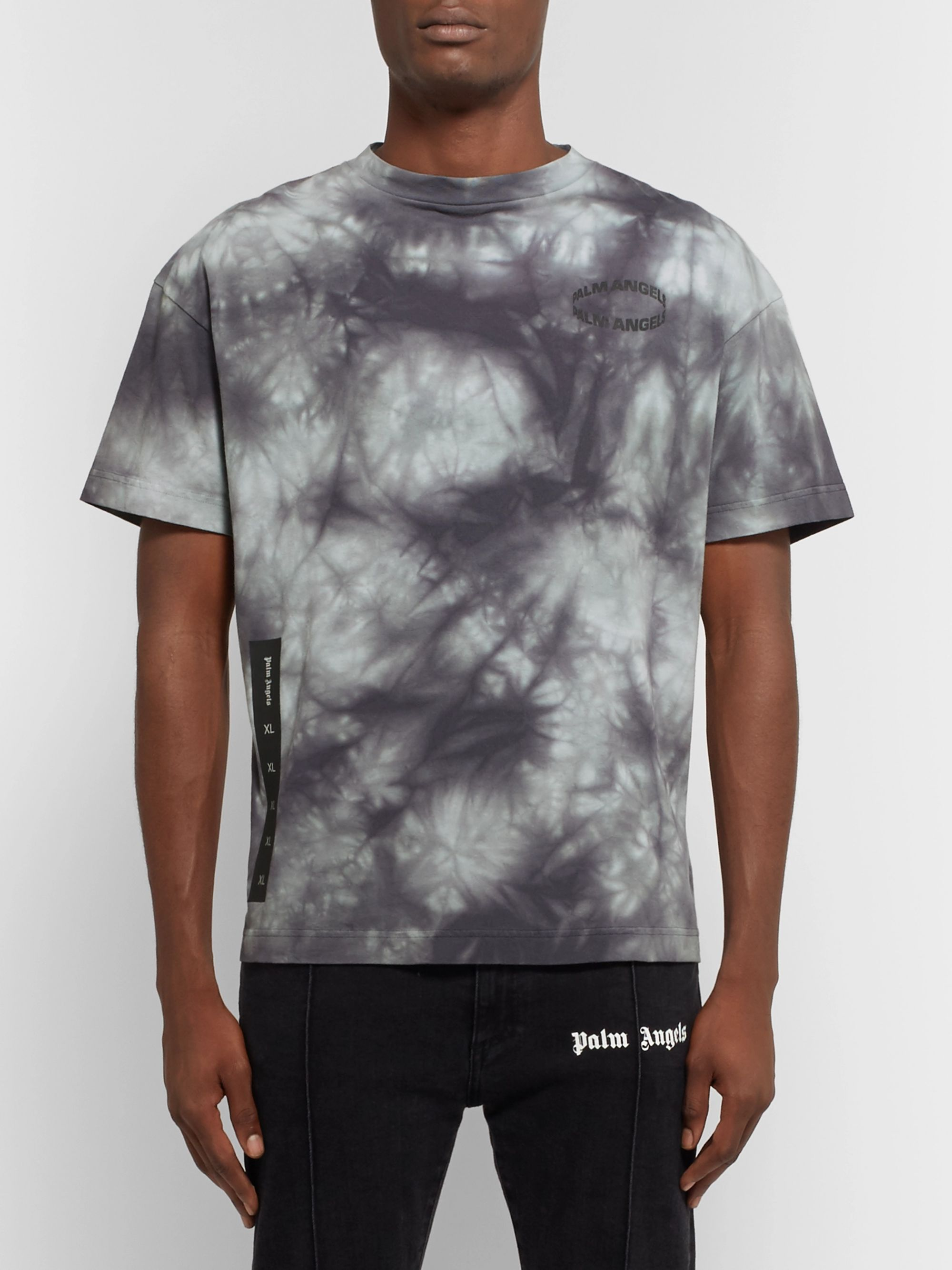 Palm Angels Logo-Print Tie-Dyed Cotton-Jersey T-Shirt