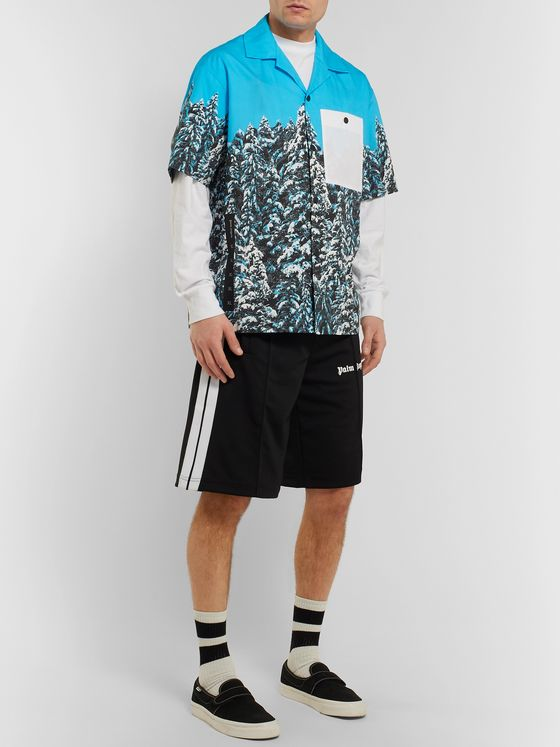 Palm Angels Camp-Collar Printed Cotton-Poplin Shirt