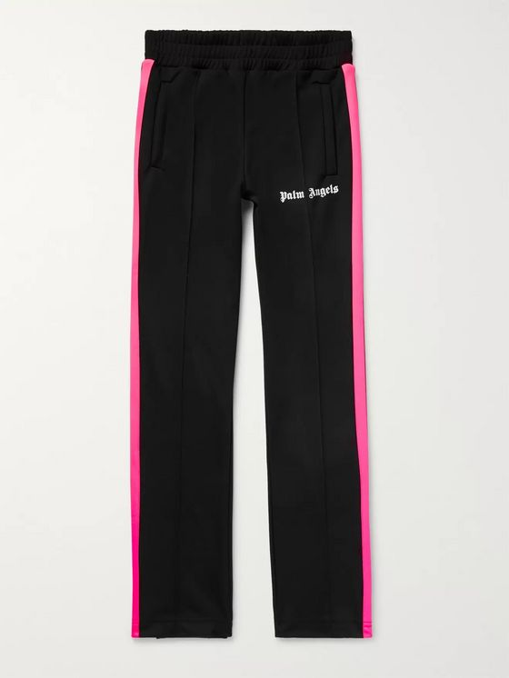 Palm Angels Slim-Fit Logo-Print Striped Tech-Jersey Sweatpants