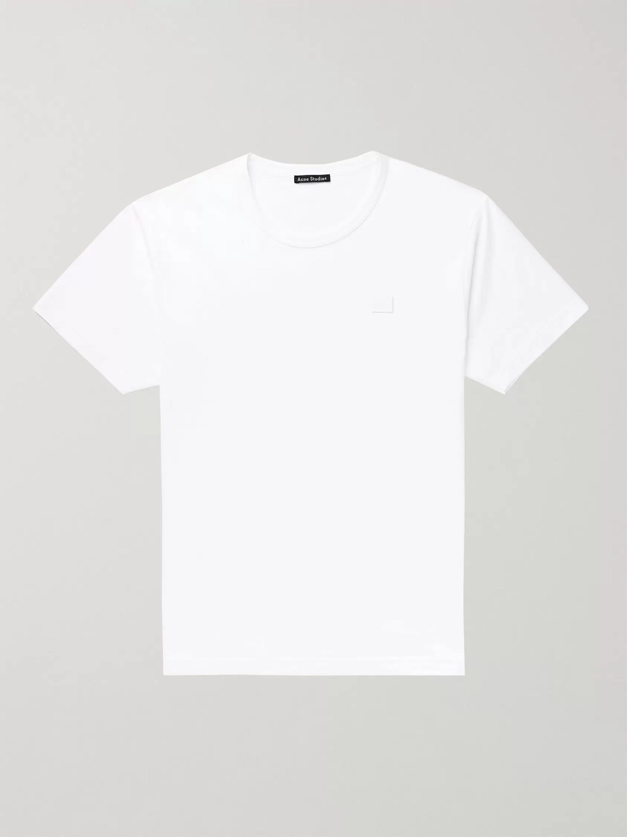 아크네 스튜디오 Acne Studios Logo-Appliqued Cotton-Jersey T-Shirt,White