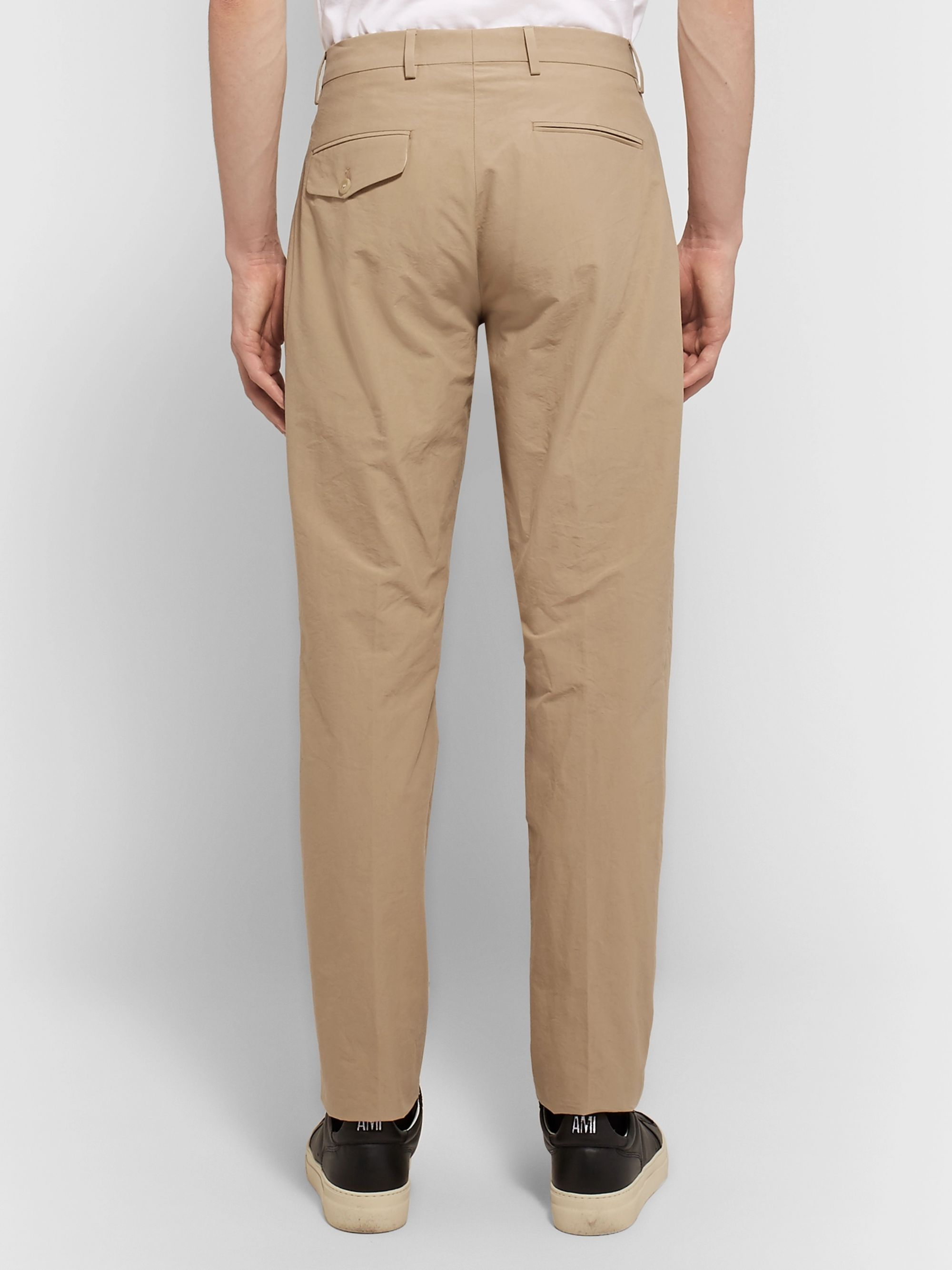 Acne Studios Sand Boston Tapered Pleated Cotton-Poplin Suit Trousers