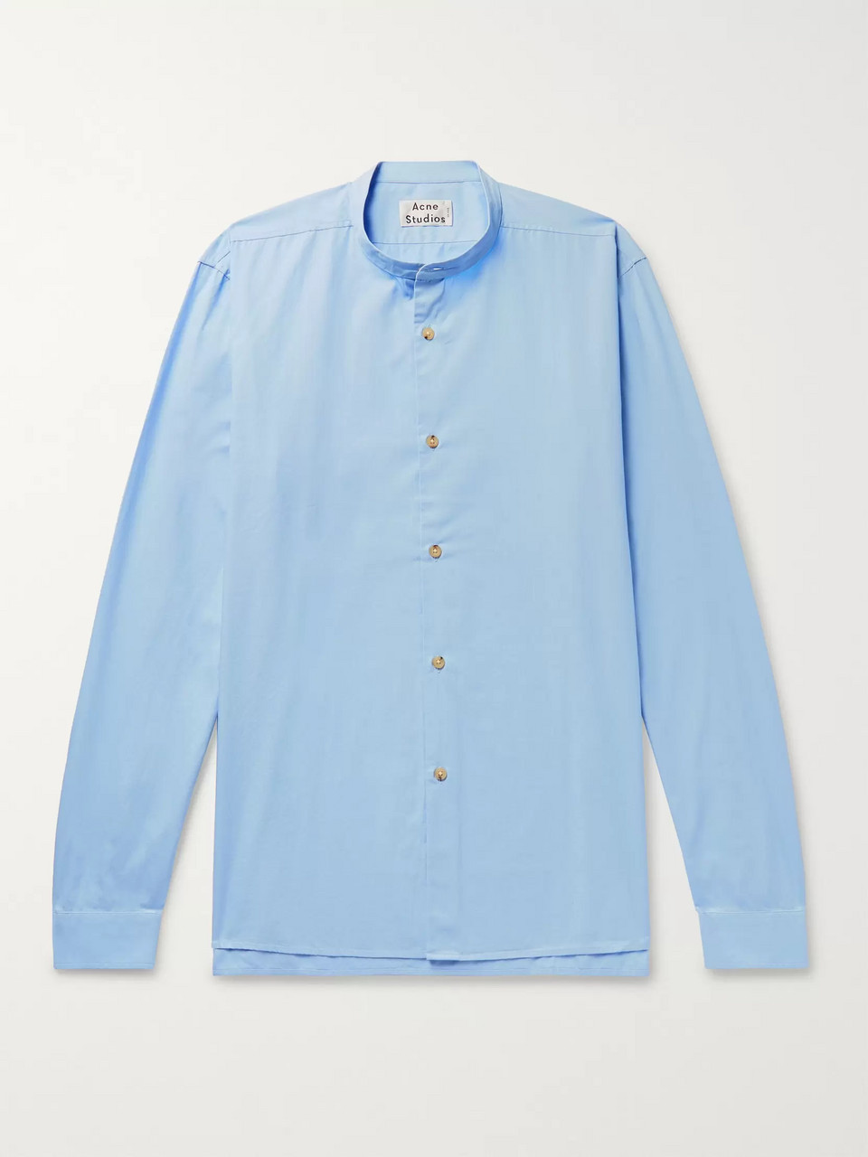 Acne Studios Pine Grandad-Collar Cotton-Poplin Shirt