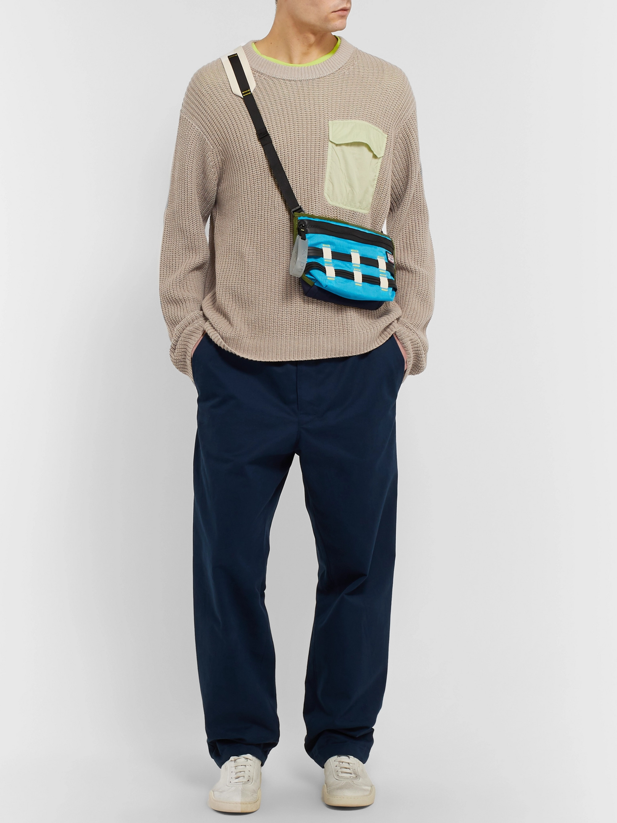 Acne Studios Karim Oversized Ripstop-Trimmed Cotton and Linen-Blend Sweater