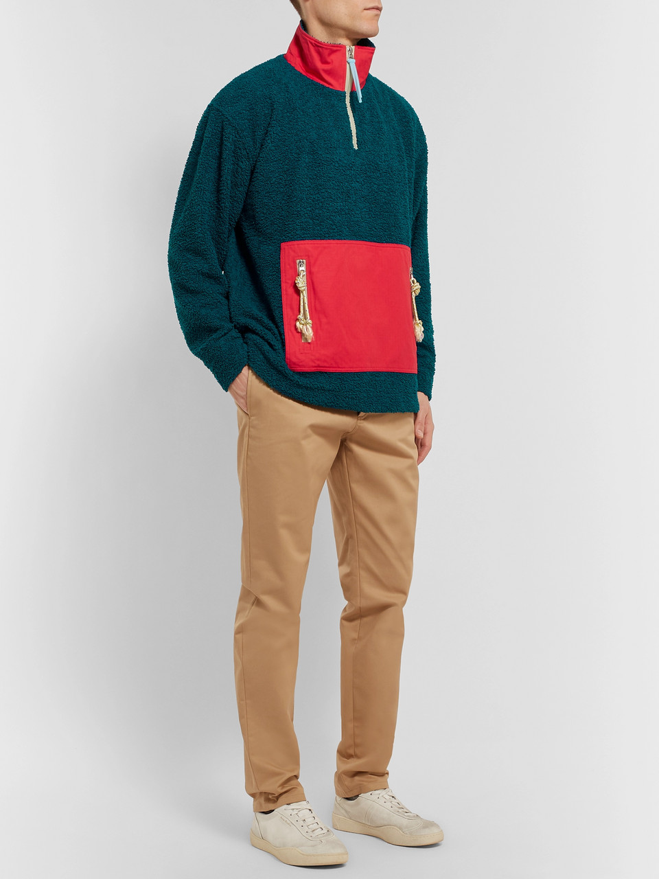 Acne Studios Faraz Cotton-Panelled Fleece Half-Zip Jacket
