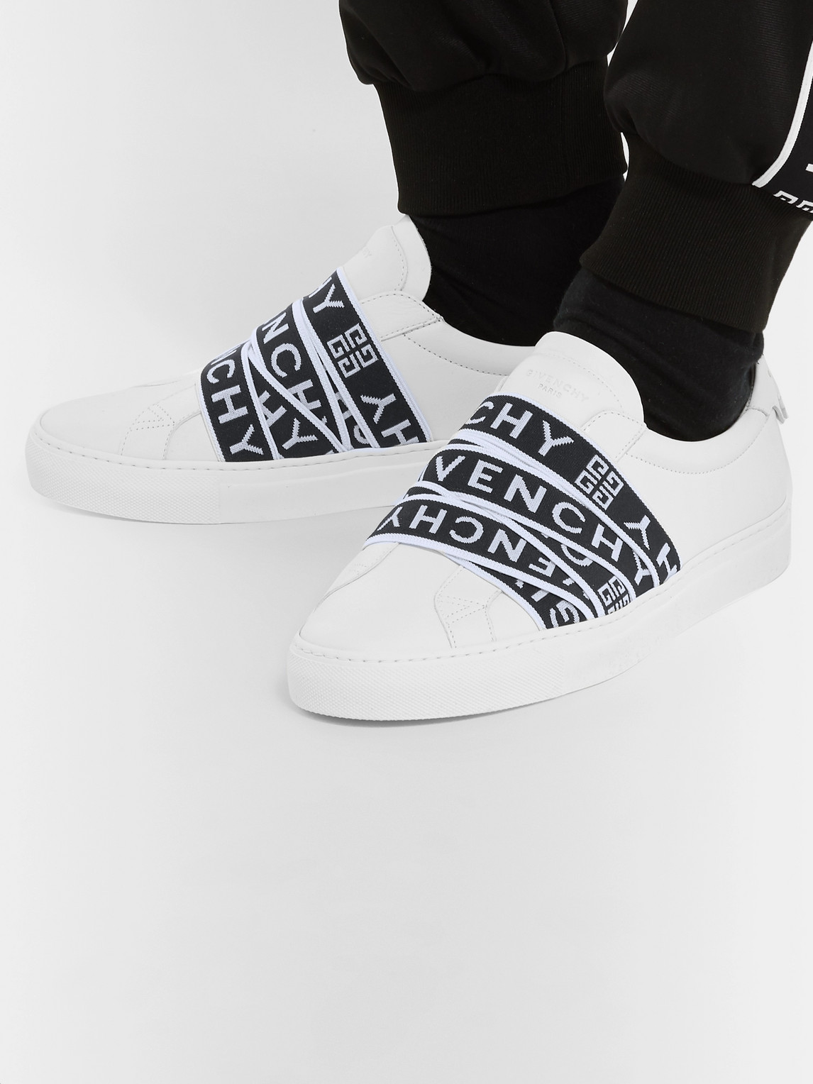 Givenchy Sneakers URBAN STREET LOGO-JACQUARD LEATHER SLIP-ON SNEAKERS