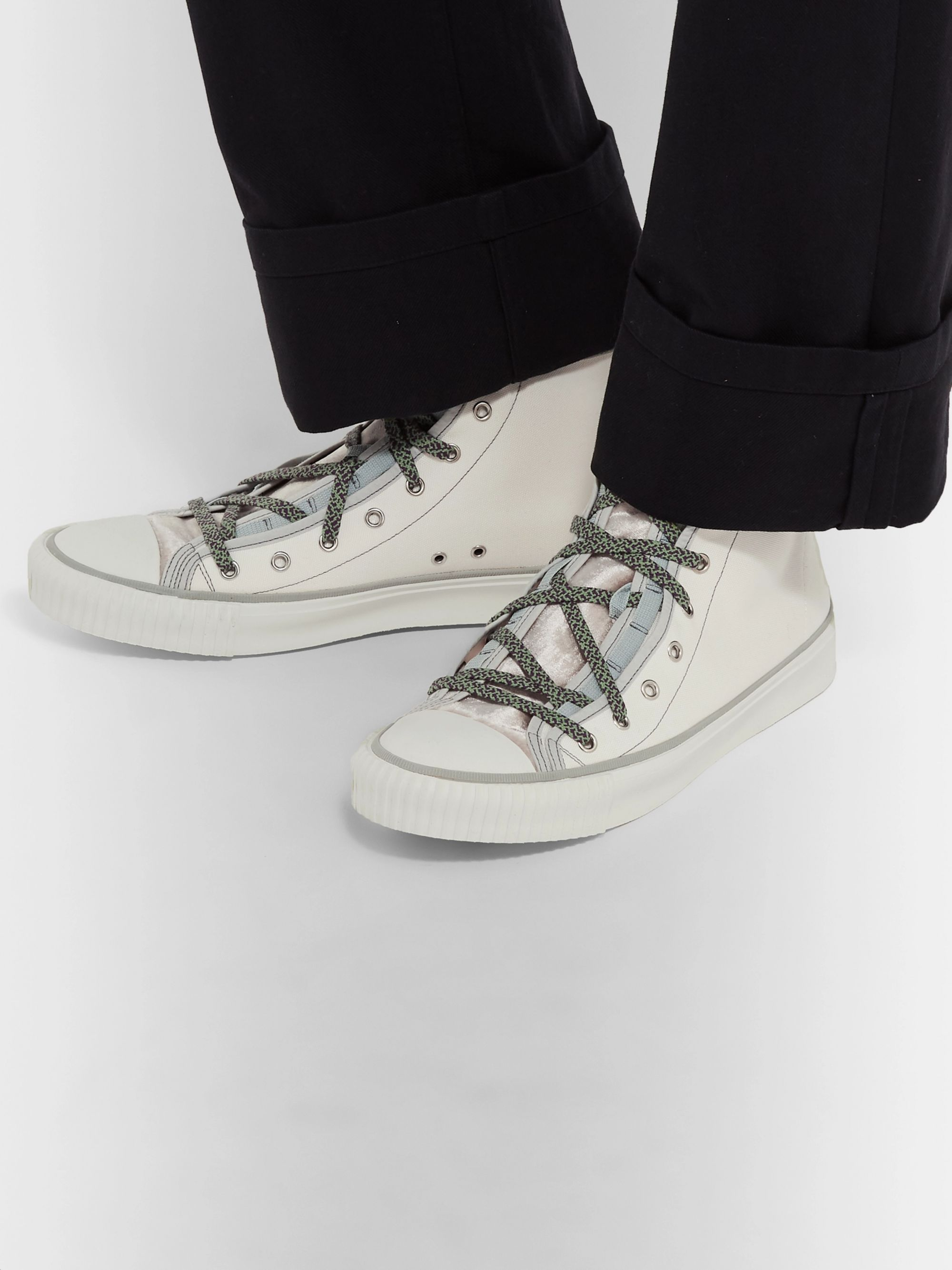Lanvin Canvas and Velvet High-Top Sneakers