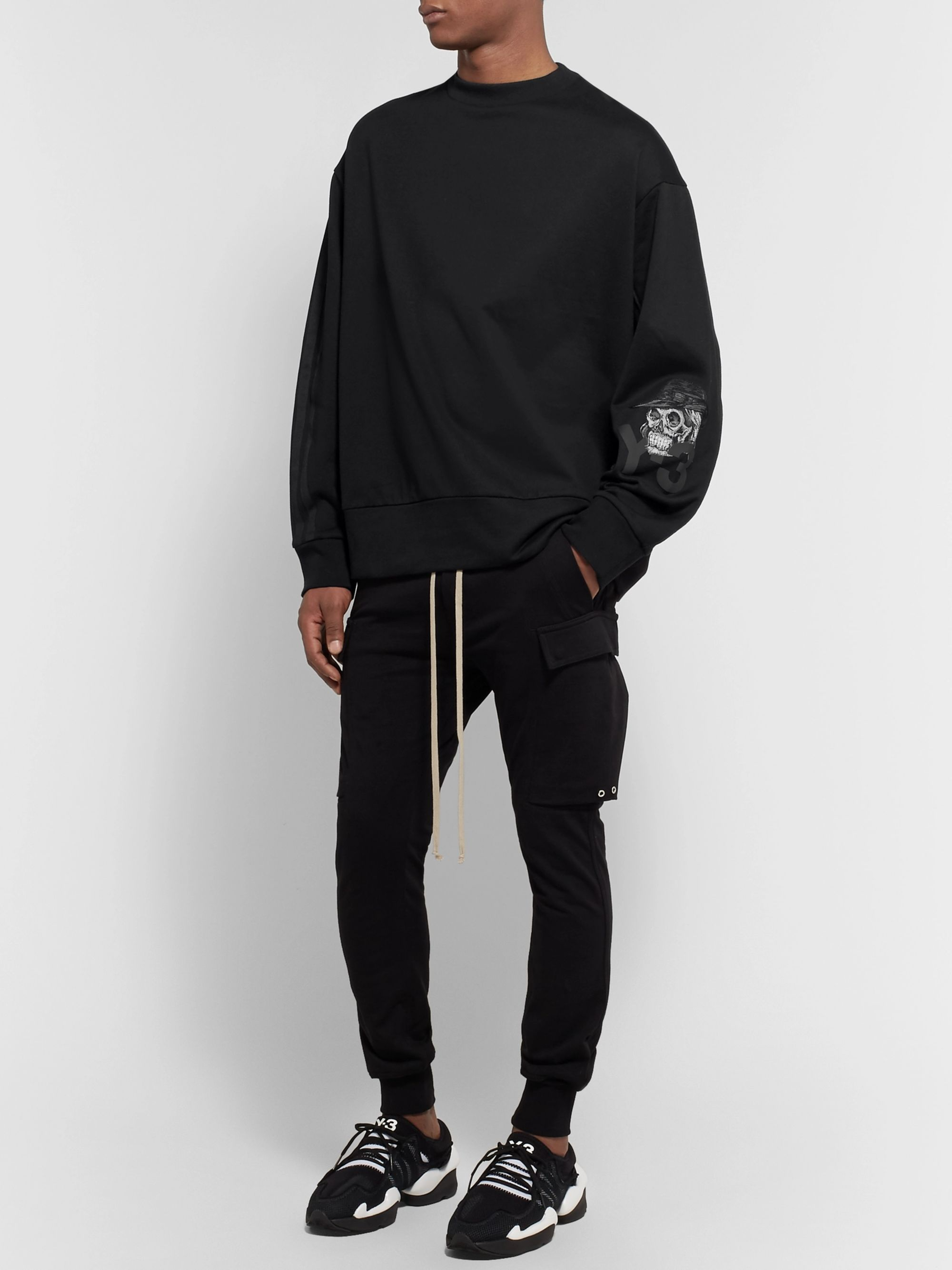 Y-3 Webbing-Trimmed Embroidered Printed Loopback Cotton-Jersey Sweatshirt
