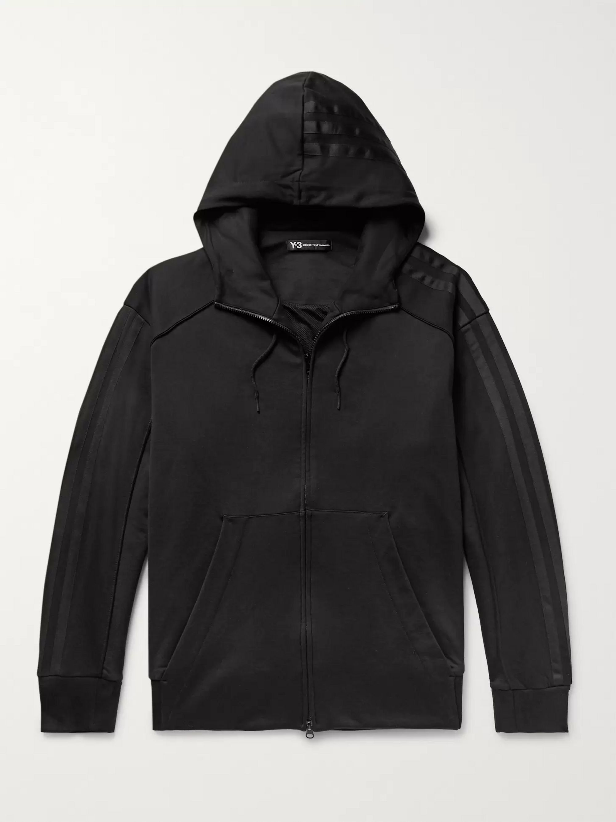 Y-3 Embroidered Printed Cotton-Jersey Zip-Up Hoodie