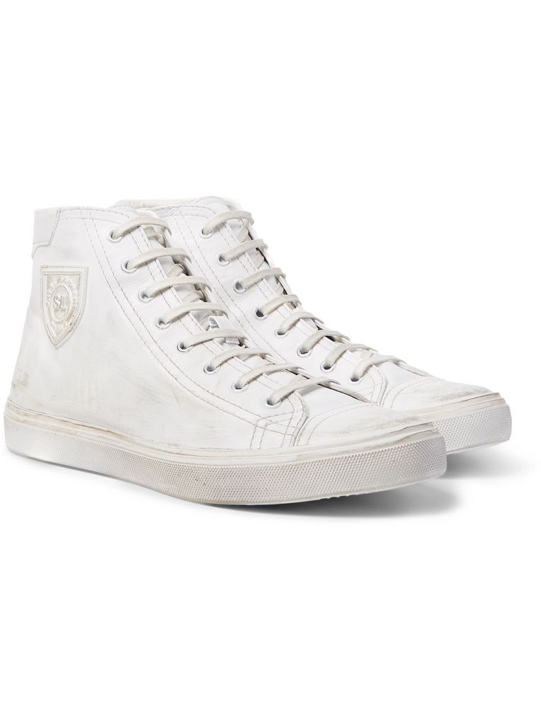 SAINT LAURENT Bedford Distressed Leather High-Top Sneakers