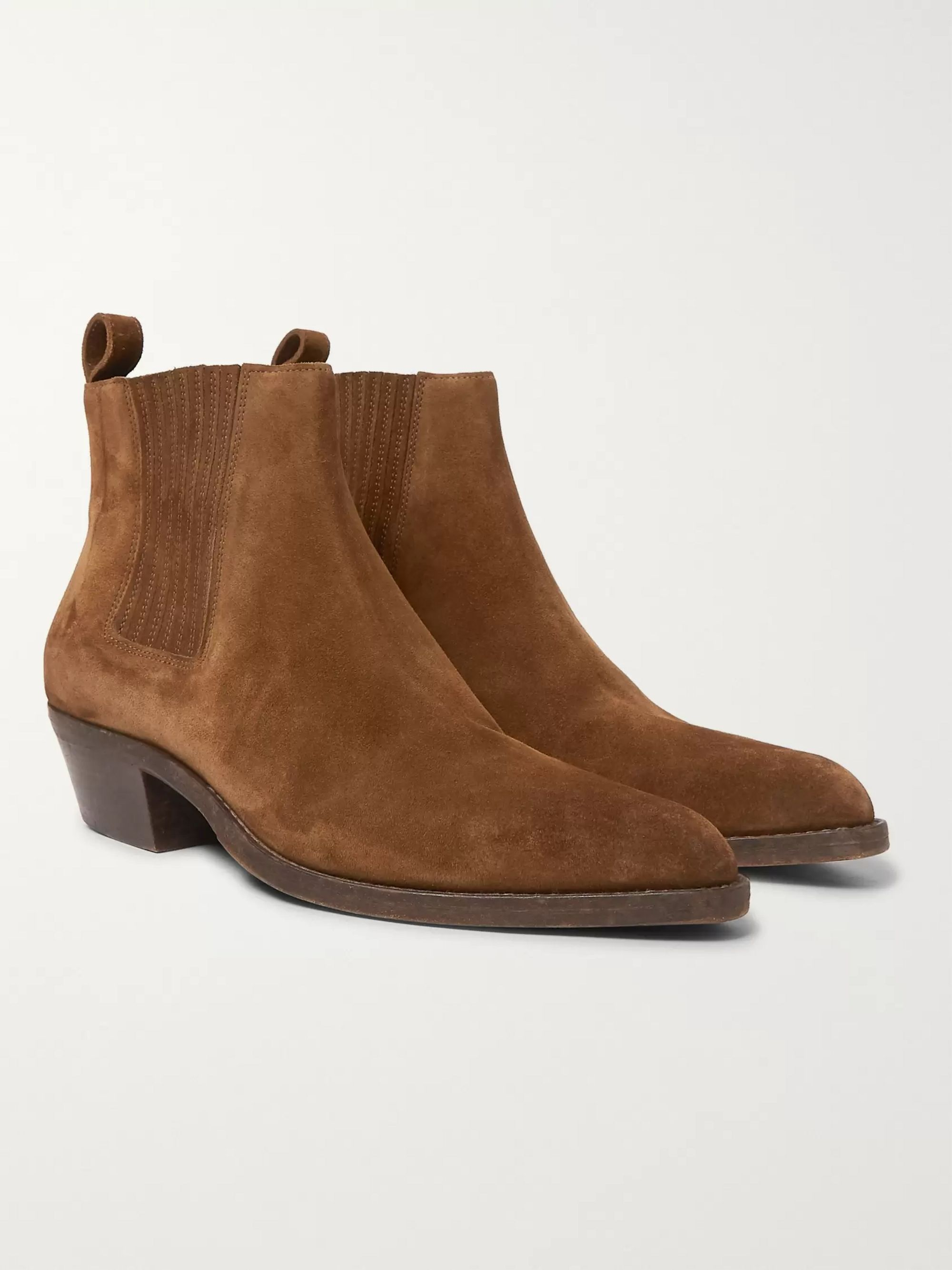 SAINT LAURENT Dakota Brushed-Suede Chelsea Boots
