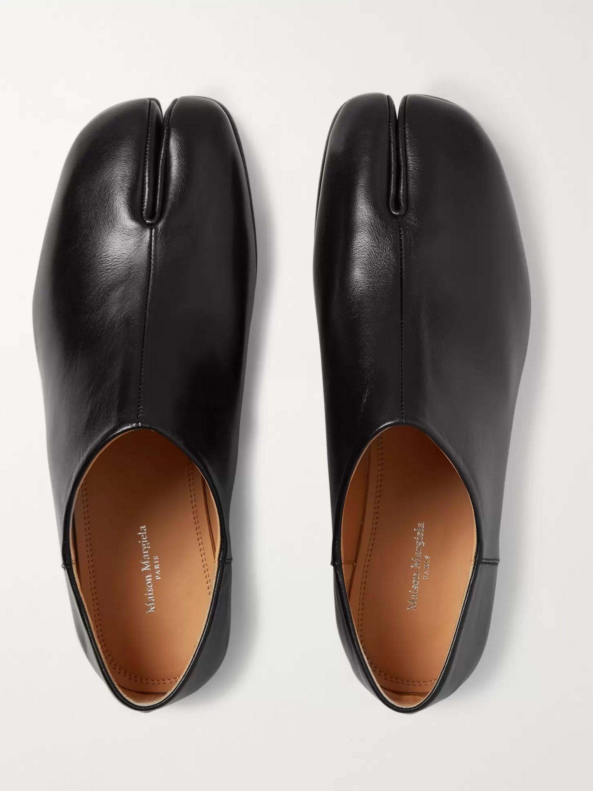 Black Tabi Split-Toe Leather