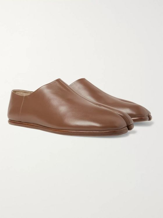 Maison Margiela Tabi Split-Toe Leather Collapsible-Heel Loafers