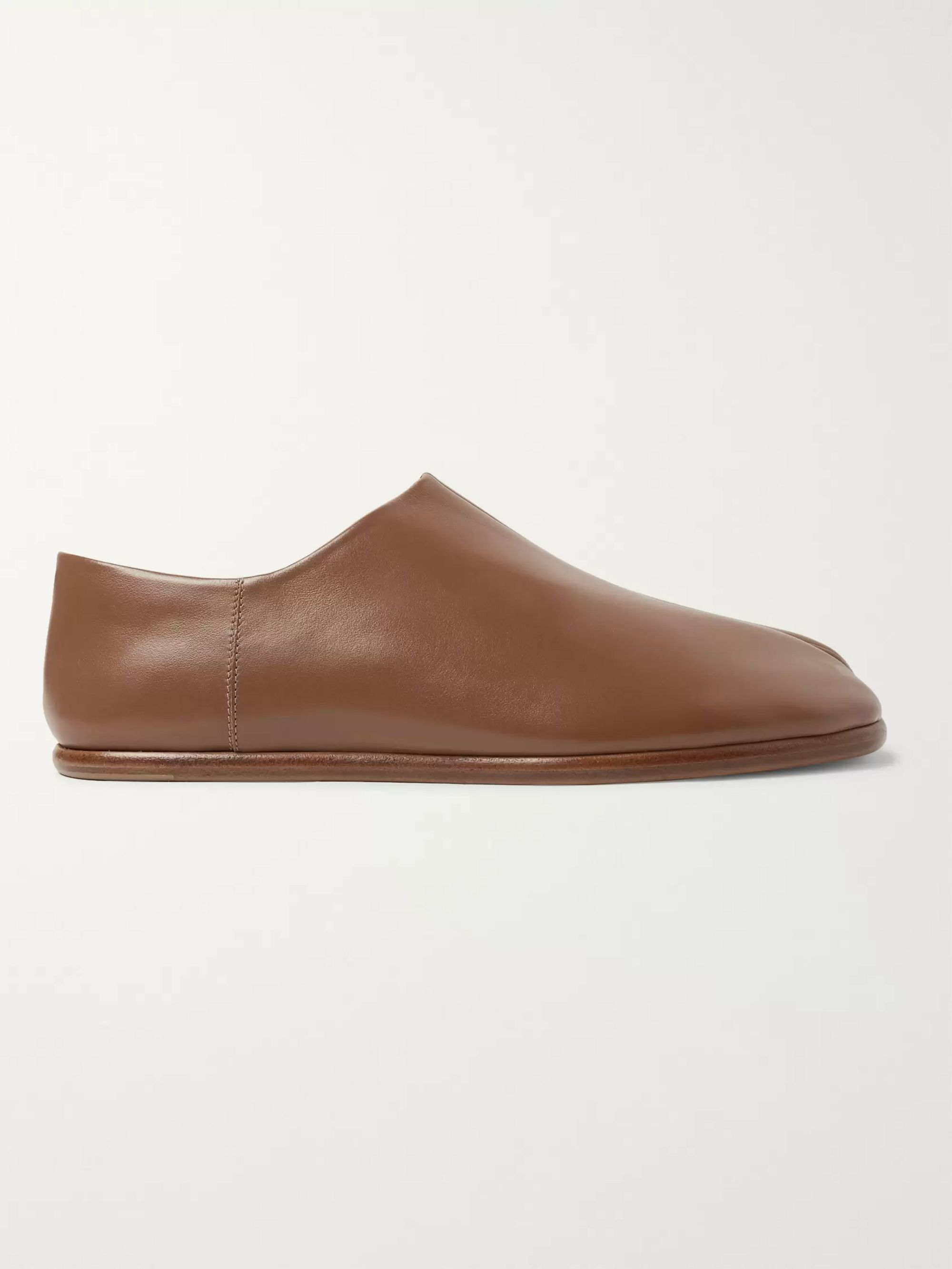 Maison Margiela Tabi Collapsible-Heel Split-Toe Leather Loafers