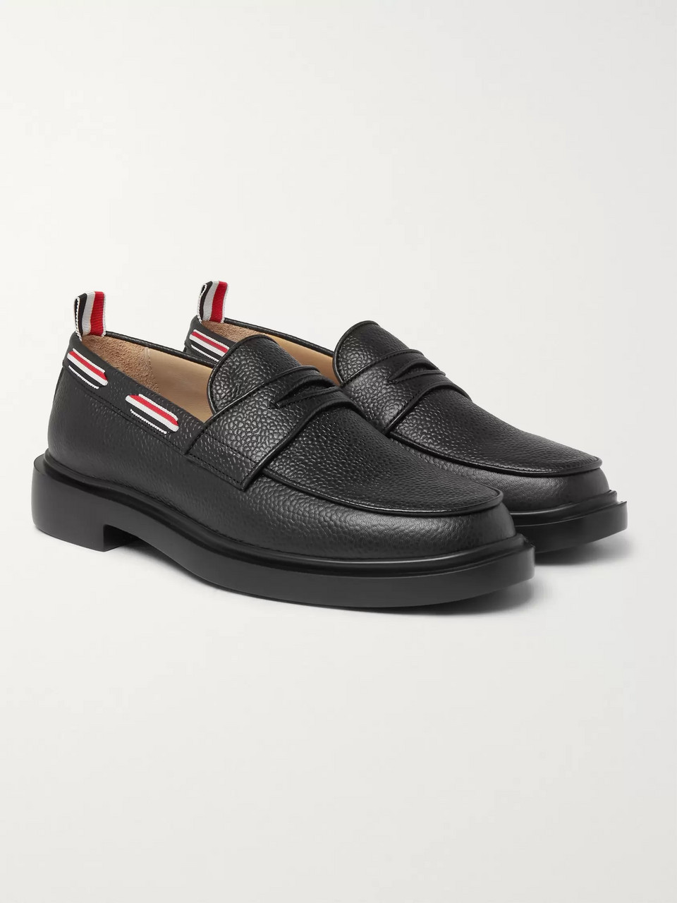 Thom Browne Grosgrain-Trimmed Pebble-Grain Leather Penny Loafers
