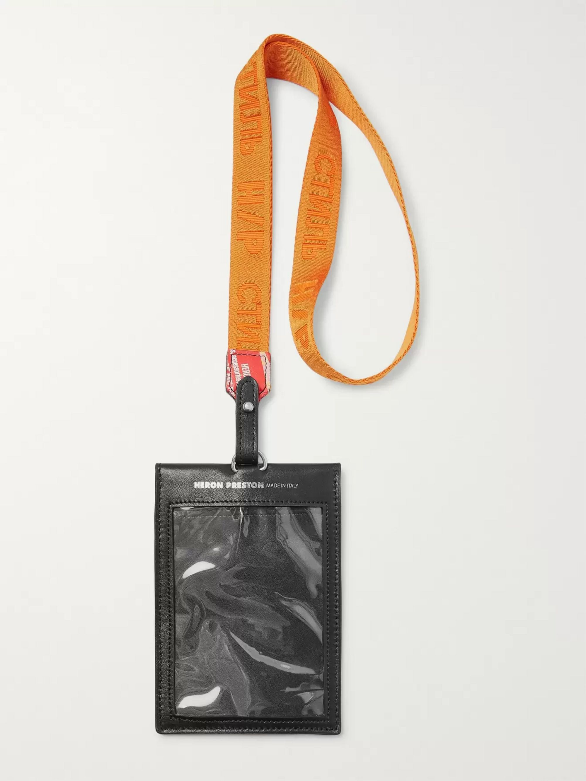 Heron Preston Printed Leather and Logo-Jacquard Webbing Passport Holder