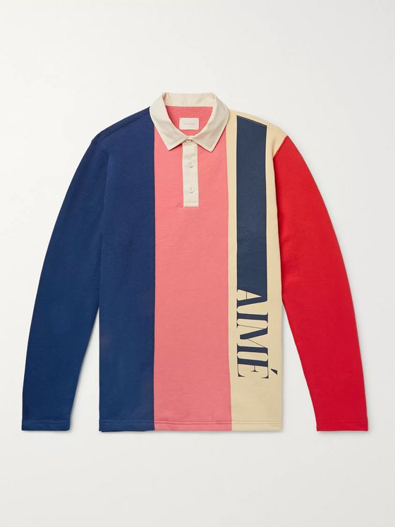 Aimé Leon Dore Logo-Print Colour-Block Loopback Cotton-Jersey Polo Shirt