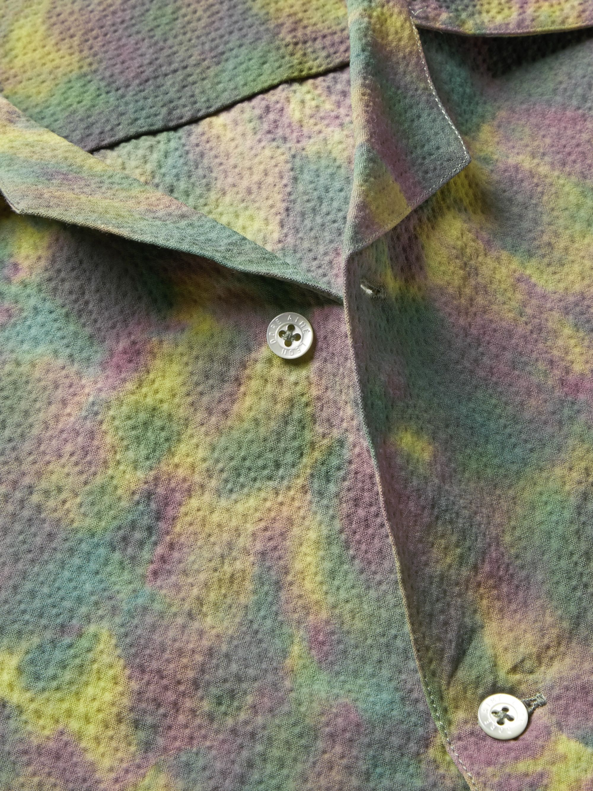 Aimé Leon Dore Camp-Collar Tie-Dyed Cotton-Blend Seersucker Shirt